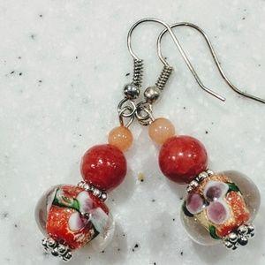 Jewelry - Handmade earrings with blown glass beads